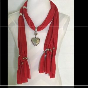 Heart Gemstone Necklace Red Scarf With Tassel